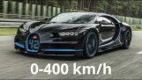 Bugatti Chiron: 0-400 กิโลเมตร / ชั่วโมงในการบันทึกเวลา
