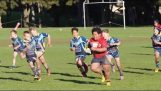 One of 9- rugby player flattens his opponents