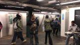 मेट्रो स्टेशन पर सड़क पर संगीतकारों द्वारा उत्कृष्ट प्रदर्शन