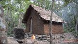 Bouw een hut met tegels, met behulp van primitieve werktuigen