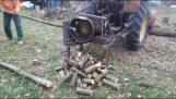 Couper du bois avec un mécanisme de fortune