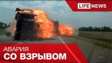 Two trucks exploded after an accident