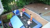 A huge jump on the trampoline