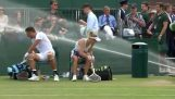 The automatic watering is activated during tennis match (Wimbledon)