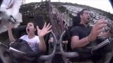 Dramatic ride at the roller coaster