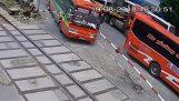 Bus nailed a railway crossing bar