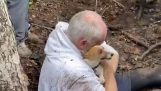 The reunion of a man with his lost dog