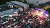 Nightclub with cars