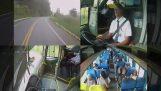 अच्छी सजगता वाला एक बस चालक दुर्घटना से बच जाता है