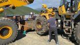 Snel banden verwijderen uit een bulldozer