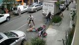 Άνδρας προστατεύει το μικρό σκυλί του από την επίθεση ενός πίτμπουλ