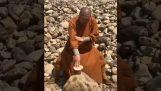 Ein Shaolin-Mönch bricht Steine