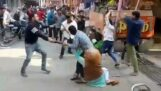 Street fight with sticks (India)