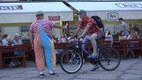 A clown stopped a cyclist