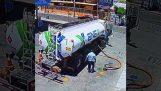 Bränsle tankfartyg föraren glömt handbromsen