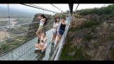 Crackling effect on a glass bridge (China)