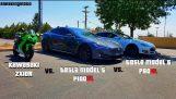 1000cc Sport Bike gets Smoked by Tesla P100DL | ZX10R vs P100DL vs P90DL